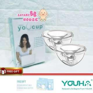 Youha Youcup Hand Free Pumping Breast feeding pump Collection Cup (1 Set for 2) with Free Gift Milk Dr.dudu Breast Milk Storage Bags
