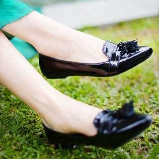 Black Formal Tassels Flats By Buckle Up INSTOCK
