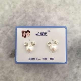 Anting Perak Mutiara / Anting Mickey Mouse / Anting Silver Kristal