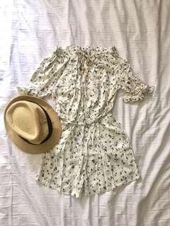 White off-shoulder romper (print)