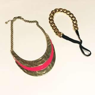 Equip Gold and Pink Necklace and Headband Bundle