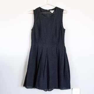 GAP broderie embroidered black fit and flare dress- work, casual US 4 AU 8
