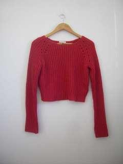 Red hot pink cropped knit sweater