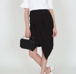 MDS Asymmetric Pleated Skirt in Black