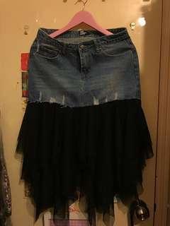 韓國 黑色網紗Lace 拼 牛仔裙