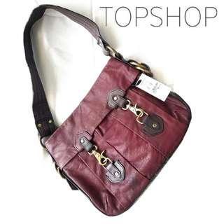 100% BARU TAPI 1/5 HARGA ASLI?!😍😱 Masih ada Pricetagnya ❤️ Original Topshop Wine Purple Colour Shoulder Bag / Tas Ungu Tua