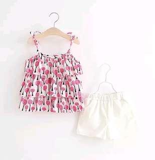 🌟PM for price🌟 🍀Girl Summer Sleeveless Straps Top+Shorts 2pcs Set🍀
