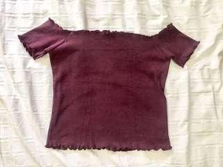 Maroon ribbed off shoulder top