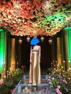 Gold Korean Silk Gown for Debuts/Weddings