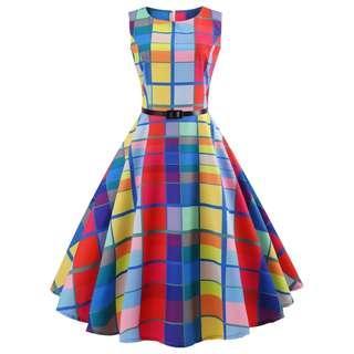 NEW! Vintage Checkered Plaid Dress