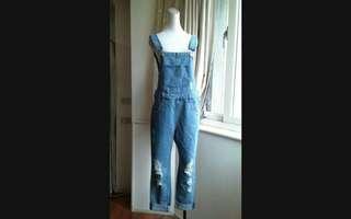 🚚 Someome jeans 淺藍刷破牛仔吊帶褲