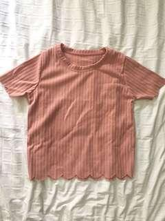 Salmon pink ribbed top