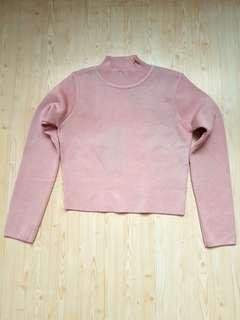 Crop top never worn knit pink long sleeve