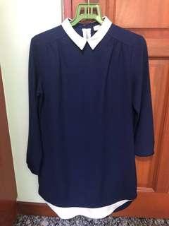 Love Bonito Navy Blue Preppy Long Sleeve Dress