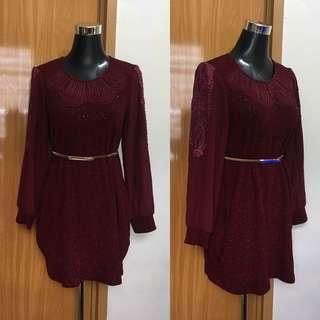 Maroon Sleeve Detail Dress