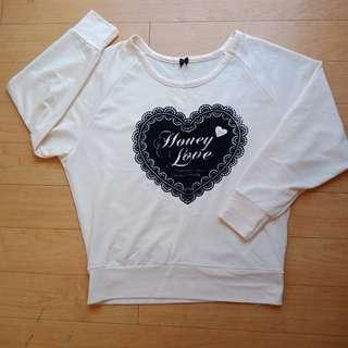Felt Heart Cream Longsleeves Sweater