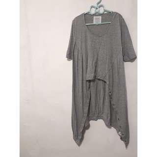 FREE品牌 前短後長 兩穿造型休閒t 灰純棉 外罩外套