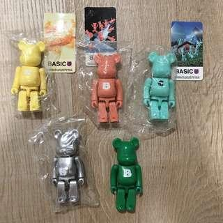 Price for all 5 pcs Bearbrick basic from early series Color r b c b b