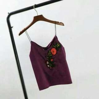 🆕 Purple Satin Embroidery Cami Top #MidSep50 #3x100