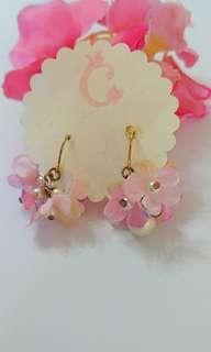 日本繡球花珍珠耳環