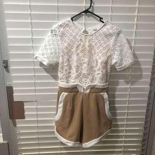 White and beige lace backless playsuit