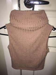 Brown Ribbed Turtle Neck