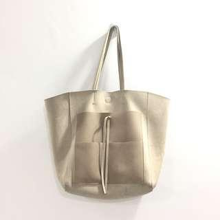 Suede Grey Mauve Tote Bag