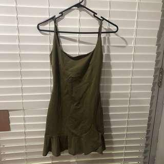 Khaki frill hem bodycon mini dress