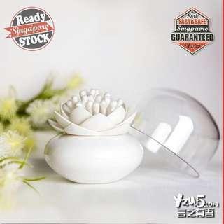 🚚 Lotus Cotton Bud Holder Creative Design Toothpick Floss Pick