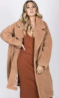 Teddy bear coat long jacket outwear brown