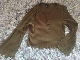 f21 olive green blouse