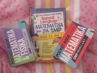 [PRELOVED ] 3 Buku Rumus SMP (pocket book CMedia Matematika&fisika dan Matematika + Rumus Lengkap Mat Ipa Azna Books)