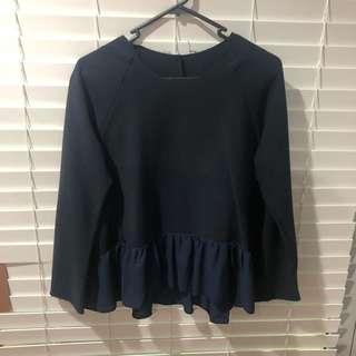 Navy frill jumper top