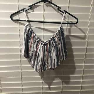 Bardot stripe bandeau top