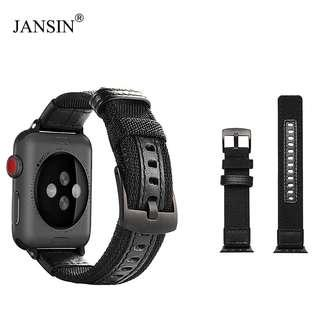 Instock #JANSIN French Apple Iwatch Strap Leather Canvas