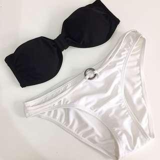 Black and white bikini set top and bottom bandeau