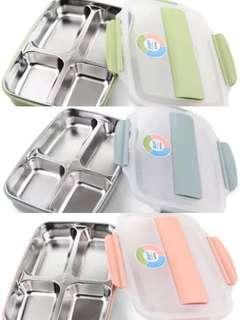 304 Stainless Steel Lunch Box c/w Bento Food Container Seperated 2Layer c/w Chopsticks & Spoon