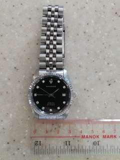 山度士 黑面 自動日曆 大裝 鑽石字 透視底 鋼錶
