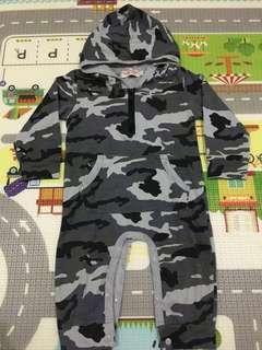 (Preloved) Army Hoodie Jumpsuit