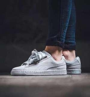 Puma grey satin ribbon sneakers