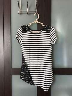 Promod assymetrical striped top with lace accents