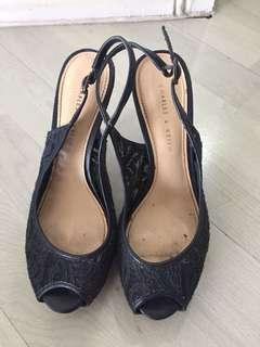 Charles & Keith Navy Lace Heels