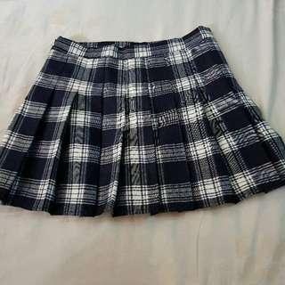 🚚 藍灰白格紋百褶褲裙