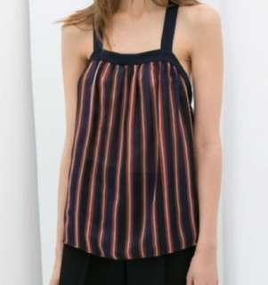 Zara Striped cross back top