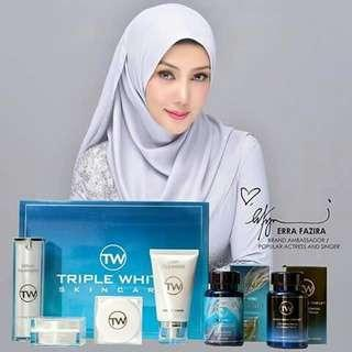 Authentic Triple White L-Glutahione, Vitamin C, 3 in 1 Skincare Set & Treatment Serum by Erra Fazira (TW) PO