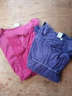 2 for ₱100 ladies' long sleeved top, empire cut.