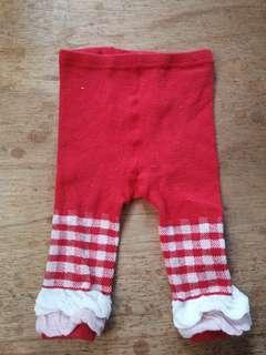 Red and white Baby leggings 6-12mos ₱50