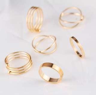 'Devon' Lovely Knuckle Rings (Set of 6)