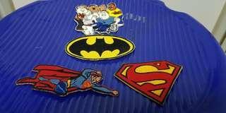 Iron on shirt decals-Superman and Batman emblem.