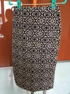 Zara XS Unlined Embroidered High-Waist Skirt